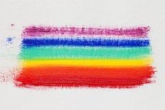 Multicolor rainbow brush strokes on artist canvas Stock Photo
