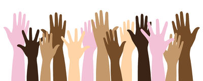 Multicolor raised hands. Vector illustration of isolated multicolor multiracial raised  hands on white background can means power, civil rights, human unity Stock Image