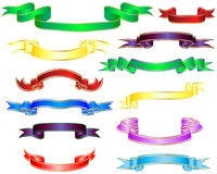 Multicolor ribbons. Set of different multicolor striped vector ribbons Stock Images