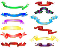 Multicolor ribbons. Set of different multicolor striped vector ribbons Stock Photo