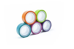 Multicolor Rolling Tapes Stock Photography