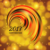 Multicolor the rooster tail. New Year 2017 celebration card. Stylized multicolor the rooster tail on defocus background and bokeh effect.Greeting Card template Royalty Free Stock Photo