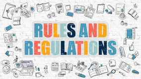 Multicolor Rules and Regulations on White Brickwall. Stock Images