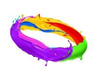 Multicolor salpica de movimiento de la pintura en un círculo imagen de archivo libre de regalías
