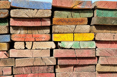 Multicolor scaffolding planks Stock Photos