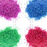 Multicolor sea bath salt over white Stock Photo