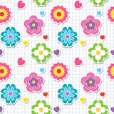 Multicolor seamless pattern with flowers Royalty Free Stock Photo