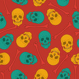 Multicolor seamless pattern with skulls. Royalty Free Stock Image