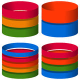 Multicolor segmented 3d cylinders, cylinder icons. Elements for Stock Images