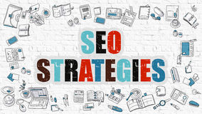 Multicolor SEO Strategies on White Brickwall. Stock Photography