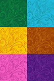 Multicolor set of patterns with drawings Stock Photography
