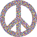 Peace and hippie symbol, flower pattern Stock Photos