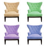 Multicolor set of sofa isolated stock photos