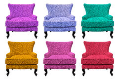 Multicolor set of sofa isolated Stock Images