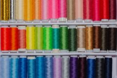 Multicolor sewing threads royalty free stock photography