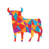 Multicolor shapes abstract bull. Animal isolated Royalty Free Stock Photos