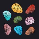 Multicolor shining decorative stones and shells Stock Photos