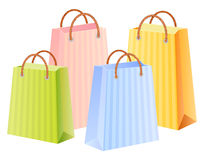 Multicolor shopping bags. Shopping bags set; multicolor;  illustration; isolated Royalty Free Stock Images
