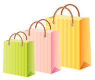 Multicolor shopping bags set. Shopping bags set; multicolor;  illustration; isolated Royalty Free Stock Image