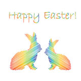 Multicolor silhouette of two Easter bunny rabbits Royalty Free Stock Image