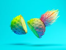 Multicolor slice pineapple on blue background 3D rendering Stock Photography