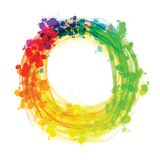 Multicolor splashed watercolor circle. Hand drawn vector sketch for poster and advertising design Stock Illustration