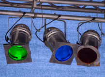 Multicolor spot lights. Fragments of stage illumination (Zurich Open Air 2008 Royalty Free Stock Images