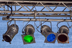 Multicolor spot ligts. Fragments of stage illumination (Zurich Open Air 2008 Royalty Free Stock Photo