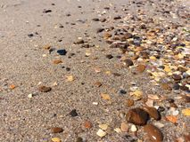 Multicolor stones and shells Stock Images