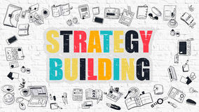 Multicolor Strategy Building on White Brickwall. Doodle Style. Royalty Free Stock Photos