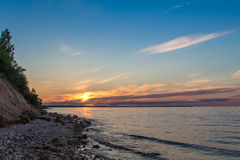 Multicolor summer sunset on a big river. Russian river Volga Royalty Free Stock Image