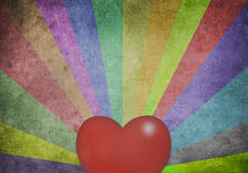 Multicolor Sunbeams and heart. Multicolor Sunbeams grunge background, old paper texture Stock Photos