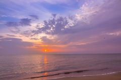 Multicolor Sunset over Calm Sea stock photography