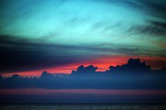 Multicolor sunset sky on lake Royalty Free Stock Photography
