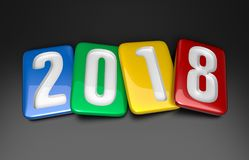 New Year 2018. 2018 Multicolor Tablet. Isolated on black background. 3D rendering Royalty Free Stock Images