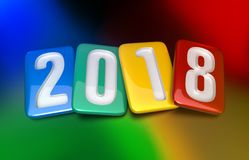 New Year 2018. 2018 Multicolor Tablet. Isolated on Colored background. 3D rendering Royalty Free Stock Image