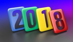 New Year 2018. 2018 Multicolor Tablet. Isolated on Colored background. 3D rendering Stock Image