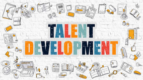 Multicolor Talent Development on White Brickwall. Doodle Style. Stock Image