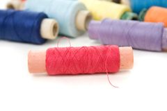 Multicolor thread reels on white Royalty Free Stock Photo