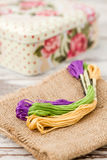 Multicolor Threads for Embroidery and Knitting Box Stock Image