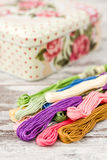 Multicolor Threads for Embroidery and Knitting Box Stock Photos