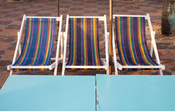 Multicolor three Striped beach bed Stock Images