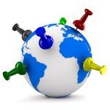 Multicolor thumbtacks on globe Stock Photography