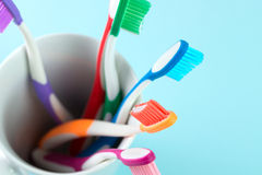 Multicolor toothbrushes Stock Photos