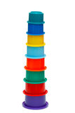 Multicolor tower of cups. Of different color Royalty Free Stock Photos