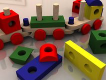 Multicolor toys. Wooden toys Stock Photo