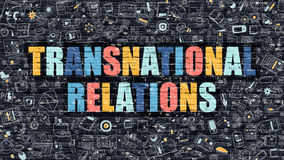 Multicolor Transnational Relations on Dark Brickwall. Royalty Free Stock Photography