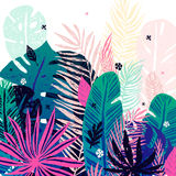Multicolor trendy tropical background, exotic leaves. Vector botanical illustration, elements for design. Royalty Free Stock Images