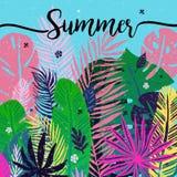 Multicolor trendy tropical summer background, exotic leaves. Vector botanical illustration, design elements. Stock Image
