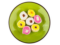 Multicolor turkish delight in glass plate Stock Photo